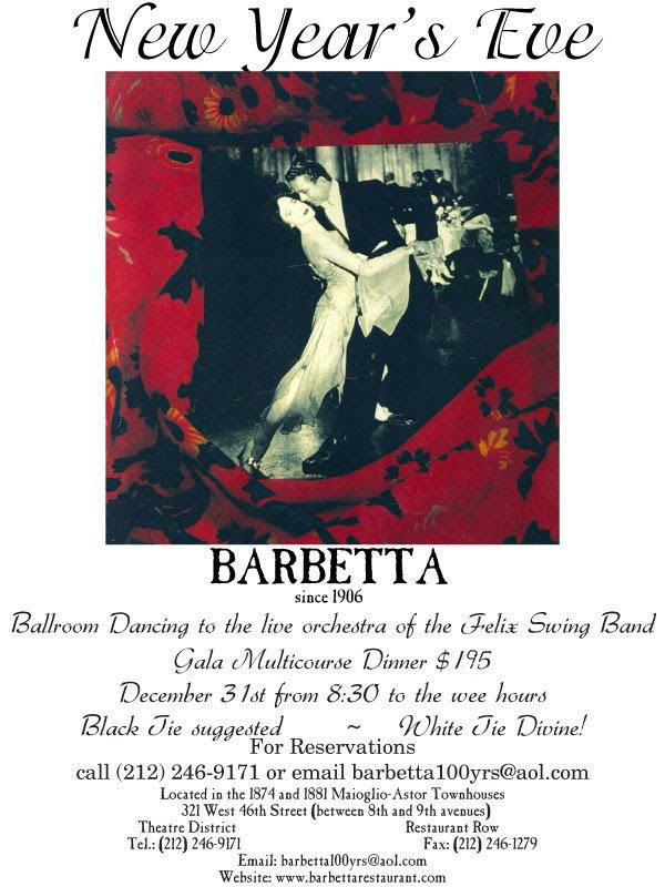 New Year's eve at Barbetta
